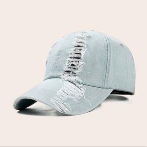 Washed Ripped Denim Baseball Cap